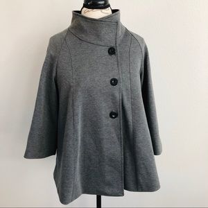 Jackets & Blazers - Vintage Cape Jacket Poncho Gray with Sleeves